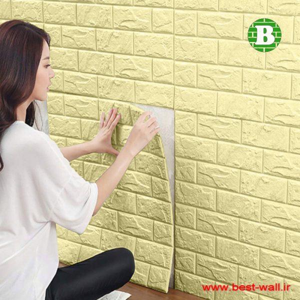دیوارپوش فومی آجری رنگ لیمویی