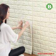 دیوارپوش و پنل فومی چسبدار کرم روشن