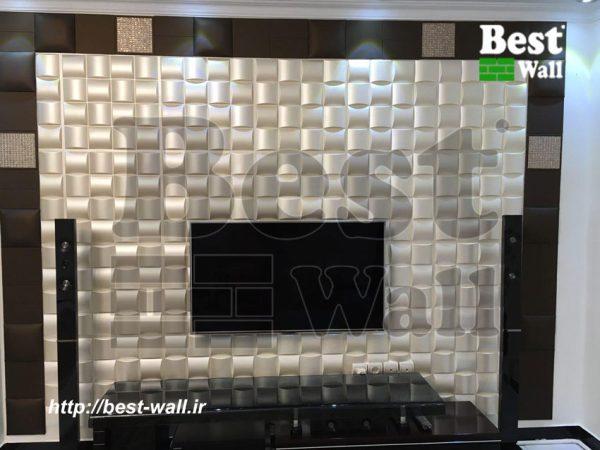 دیوار تلویزیون با دیوارپوش سه بعدی حریر