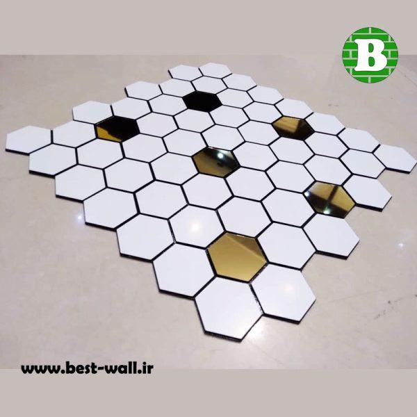 بین کابینتی شش ضلعی سفید طلایی