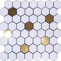 کاشی بین کابینتی شش ضلعی سفید طلایی