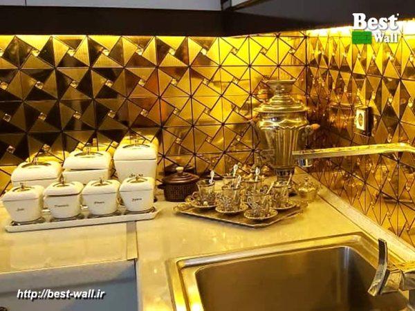 کاشی آشپزخانه لوکس و لاکچری طلایی