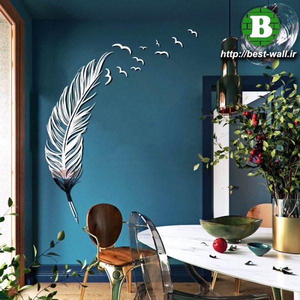دکوری آینه ای دیوار طرح پر پرنده